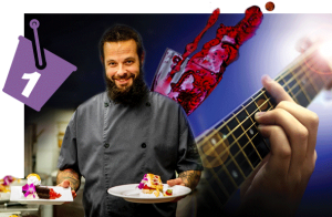 photo montage of Chef Ryan Clark, spilled wine and guitarist