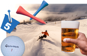 photo montage of skier in powder snow at Sun Peaks with golf ball, tees and glass of beer